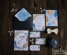 """Купить Приглашение на свадьбу """"Морская сказка"""" - синий, приглашения на свадьбу, пригласительные, свадебная полиграфия"""