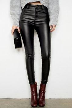 Noir Molleton Faire La Sieste Enduit Stretch Taille Haute Skinny Jeans 168ab72c5c1