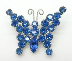 Blue Rhinestone Butterfly Brooch Vintage by LeesVintageJewels