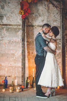 Abandoned Warehouse & Tattooed Couple Shoot: Maria & Chris