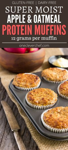 I love these super moist and tender apple protein muffins. They are protein-packed healthy naturally sweetened with maple syrup (could be replaced with honey) and extra easy to make. They are the perfect on-the-go clean eating breakfast or post-wor High Protein Muffins, Protein Powder Muffins, Healthy Breakfast Muffins, Protein Powder Recipes, Clean Eating Breakfast, Free Breakfast, Protein Cookies, Vega Protein Recipes, Baking With Protein Powder