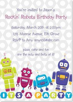 Birthday Party Invitations - Rockin' Robots Birthday Invitation