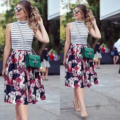 "Moda ""Linda Ariane Cânovas at with our wonderful midi skirt that is already on the site! Loved the mix of prints and you guys ? Skirt Outfits, Casual Outfits, Cute Outfits, Fashion Outfits, Fashion Trends, Fashion News, Women's Fashion, Vestidos Chiffon, Meeting Outfit"