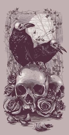 Crows & Skulls - Óscar Tello (perfect idea to balance the tattoo, i think i will have some feathers falling along de sleeve)
