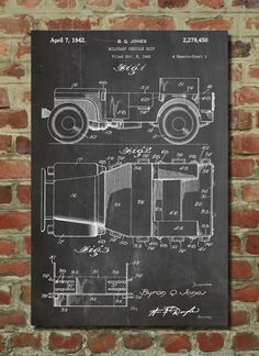 Willy's Jeep Patent Wall Art Poster by PatentPrints on Etsy https://www.etsy.com/listing/169429486/willys-jeep-patent-wall-art-poster