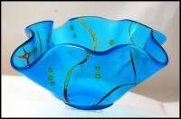 "SKY BLUE FUSED ""HANKIE"" BOWL absolutely beautiful!!"