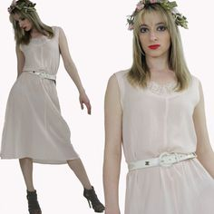 Vintage Boho Bridal Dress Sheer lace Pastel by SHABBYBABEVINTAGE, $59.00