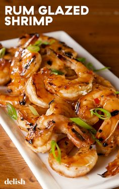 sweet and spicy Rum Glazed Shrimp will make you feel like you're on a tropical island. Get the recipe at .This sweet and spicy Rum Glazed Shrimp will make you feel like you're on a tropical island. Get the recipe at . Shrimp Dishes, Fish Dishes, Shrimp Recipes, Fish Recipes, Main Dishes, Shrimp And Scallop Recipes, Recipies, Sauce Recipes, My Burger