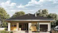 Projekt domu parterowego o pow. 106,9 m2 z garażem 1-st., z dachem kopertowym, z tarasem, sprawdź! Garage Doors, House Design, Mansions, House Styles, Outdoor Decor, Unique, Home Decor, Decoration Home, Manor Houses