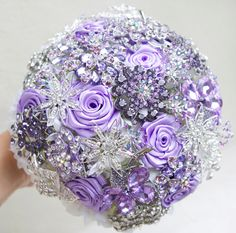 Lilac and silver wedding brooch bouquet, Jeweled Bouquet. Made upon request found on Etsy--freakin in love! Bling Bouquet, Purple Wedding Bouquets, Wedding Brooch Bouquets, Lilac Wedding, Bride Bouquets, Bridal Flowers, Dream Wedding, Flower Bouquets, Wedding Dresses