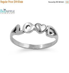 Love Heart Ring Solid 925 Sterling Silver Simple Plain Dainty Love Heart Ring Valentines Mothers day Girl Friend Wife Love Gift