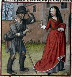 Detail of a miniature of Pauvrete begging from Richesse Harley MS 4425 f. 73r, British Library 1490-1500