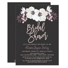 Modern Floral Bridal Shower Card - invitations personalize custom special event invitation idea style party card cards