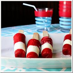 Berry & Cream Striped Popsicles