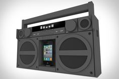 Not content to simply mimic the looks of an old-school, cassette-powered system, the iHome iP4 Boombox ($200) borrows the general shape and attitude of classic systems but belongs squarely in the 21st century, thanks to its subdued monotone design*, modern technology like SRS TruBass DSP, a flexible iPod/iPhone dock, four-inch carbon composite woofers and one-inch tweeters, an auxiliary input jack, backlit buttons, a five-band graphic equalizer with LCD display, and a decidedly low-tech FM…