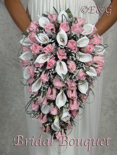 SMUK PINK CASCADE silke blomster kaskade af Angelweddings