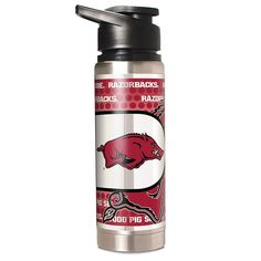 Great American Products NCAA 20 oz. Double Wall Stainless Steel Water Bottle with Metallic Graphics - Arkansas Razorbacks