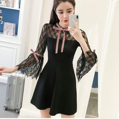 FacebookTwitterPinterestEmailMore1 Mini Dresses For Women, Calf Sleeve, Black Pattern, Trumpet, Bell Sleeves, Cold Shoulder Dress, Spring, Lace, Womens Fashion