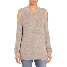 Rebecca Minkoff Page Cold-Shoulder Sweater ($155) ❤ liked on Polyvore featuring tops, sweaters, apparel & accessories, cream, pullover sweater, ribbed sweater, cold shoulder sweater, cut out sweater and cut-out shoulder tops