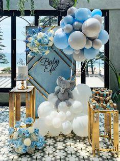 Birthday Balloon Decorations, Girl Baby Shower Decorations, Boy Baby Shower Themes, Baby Shower Balloons, Baby Shower Gender Reveal, Baby Boy Shower, Deco Baby Shower, Shower Set, Princesse Party