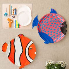DIY Craft: Flish Plates- can use markers/crayons/collage instead of paint