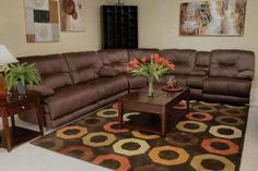 Catnapper Noble Lay Flat Reclining Sectional in Espresso
