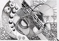Чеботарева Евгения. Архитектурная графика Abstract Drawings, Art Drawings, Abstract Art, Value In Art, Composition Art, Ink Illustrations, Geometric Art, Op Art, Mandala Design