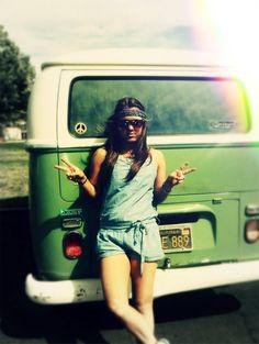 hippie van and sunshine.