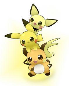 chibi Pichu, Pikachu, Raichu