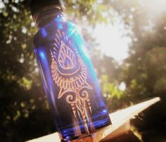 henna style small cobalt bottle essential oil by OurFolkLife, $11.00