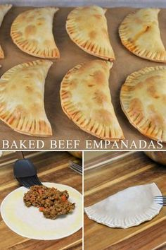 Beef Empanadas - These beef empanadas are baked not fried and feature an easy-to-make ground beef filing. Empanadas -Baked Beef Empanadas - These beef empanadas are baked not fried and feature an easy-to-make ground beef filing. Baked Empanadas, Mexican Beef Empanadas Recipe, Easy Empanada Recipe, Baked Beef Empanadas Recipe, Empanadas Dough For Frying, Chicken Empanadas, Meat Recipes, Cooking Recipes, Easy Mexican Food Recipes
