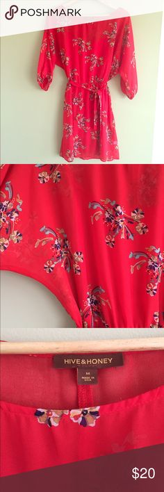 Hive and Honey spring dress Light and flowy dolman sleeve dress. Worn once and washed once. Great colors and print for spring. Slip and belt included. Excellent condition. Hive & Honey Dresses