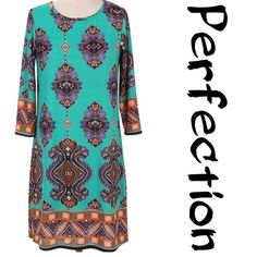 "BEAUTIFUL MULTI PRINT SHIFT DRESS So figure flattering on everyone! Pretty multi print reminiscent of Moroccan patterns. Choice of Magenta or Jade. 95% polyester/5% spandex. Great travel piece, wrinkle free fabric.  PLEASE DO NOT BUY THIS LISTING! I will personalize one for you. RUNS LARGE. Measurements upon request.♦️Also in S-M-L @saundie♦️1X: bust 44"" waist 48"" hips 52"" length 38""MAGENTA one 1X & one 3X. JADE one 1X & one 2X tla2 Dresses"