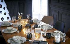 Décoration moderne pour la table de Noël (du noir et du blanc)  http://www.homelisty.com/table-de-noel/
