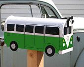 Teal Volkswagen Bus Mailbox by TheBusBox Custom made - Choose your color. $99.00, via Etsy.