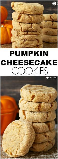 These PUMPKIN CHEESECAKE COOKIES are quick to make and will please any pumpkin lover. A soft creamy center with a graham cracker coating- these are the perfect treat! cookies and cream cookies christmas cookies easy cookies keto cookies recipes easy Brownie Desserts, Köstliche Desserts, Delicious Desserts, Dessert Recipes, Yummy Food, Picnic Recipes, Cheesecake Desserts, Raspberry Cheesecake, Picnic Foods