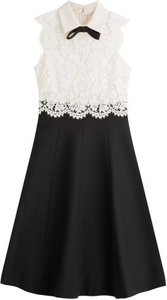 Valentino Wool-Silk Dress with Lace - You can rely on Valentino for chic femininity with indulgent detail.