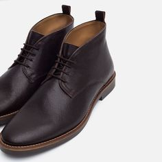 Image 3 of LEATHER DESERT ANKLE BOOTS from Zara