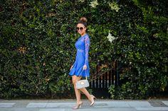 blue mini lace dress