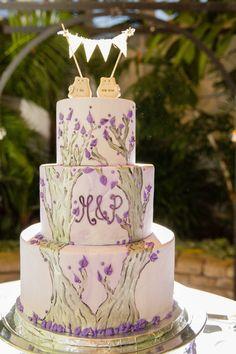 Purple and silver tree wedding cake | Ohio Botanical Lesbian Wedding | Equally Wed - LGBTQ Weddings