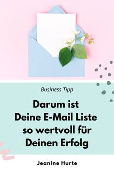 Pflege Deine E-Mail-Liste bitte wie die Menschen, die Dir am Herzen liegen, denn das sind sie für Dein Business. In diesem Blogbeitrag lernst Du, warum du in Deiner Selbstständigkeit oder Deinem Business unbedingt eine E-Mail Liste haben solltest! Ich verrate Dir, wie Du eine erfolgreiche E-Mail Liste aufbaust und wie Dir E-Mail Marketing hilft, Geld mit Deinem Business zu verdienen. Deine Business Mentorin Jeanine Hurte. #marketingtipp #onlinemarketing #businesstipp #jeaninehurte Business Coach, Business Baby, E-mail Marketing, Content Marketing, Personal Care, Positive Psychology, Earn Money Online, Pool Chairs, Self Care