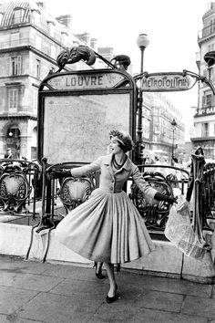 "Model in Dior's ""Palais de Glace"" dress, Spring/Summer Collection Libre Line 1957, photo by Mark Shaw, Paris."