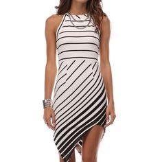 Asymmetric Dress By Tea n Cup.  Super flattering diagonal stripes and cut. Zippered back.  Slight stretch. Tea n Cup Dresses Mini