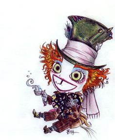 Yay for Burton's Alice in Wonderland .and for Johnny Depp as the Mad Hatter err quick drawing . Tim Burton Kunst, Tim Burton Art, Alice In Wonderland Fanart, Alice In Wonderland Drawings, Arte Disney, Disney Art, Mad Hatter Tattoo, Mad Hatter Drawing, Alice Madness