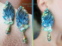 Silk Earrings, designed by Serena Di Mercione. - Shibori silk, soutache, swarovski, pearls, Murano-Glass drop.