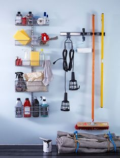 Buy the Elfa Starter Kit - Utility Room / Garage, Platinum from Elfa today! A part of our Best Selling Elfa Solutions range. Clothes Rod, Clothes Drying Racks, Neat And Tidy, Tidy Up, Pegboard Garage, Utility Shelves, Empty Wall Spaces, Modular Shelving, Basket Shelves