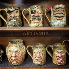 These are awesome like a hundred thousand hot dogs. All I can do is gasp and point! | Wheel thrown, hand-sculpted face steins. artismia's photo on Instagram