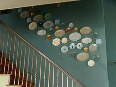 Plates going up stair wall