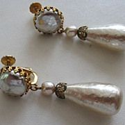 Vintage Costume Jewelry - MIRIAM HASKELL Simulated Baroque Pearl Drop Earrings