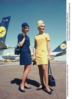 Lufthansa Stewardess outfit, 1970-79. Germany. Design Werner Machnik, 1970. Via MAKK Cologne